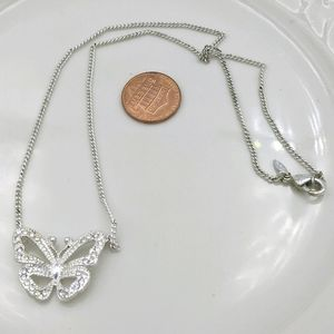 Avon Silver Tone Crystal Butterfly Necklace